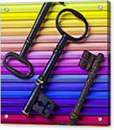 Old Skeleton Keys On Rows Of Colored Pencils Acrylic Print by Garry Gay