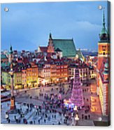 Old Town In Warsaw At Evening Acrylic Print by Artur Bogacki