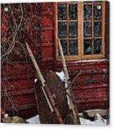 Old Wheelbarrow Leaning Against Barn In Winter Acrylic Print by Sandra Cunningham