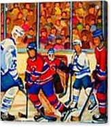 Olympic  Hockey Hopefuls  Painting By Montreal Hockey Artist Carole Spandau Acrylic Print by Carole Spandau