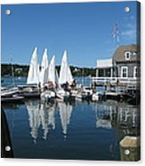 On A Beautiful Maine Summer Morning On The Island Of North Havenjunior Sailing Participants Rig Sailboats Acrylic Print by Downeast Yacht Shots- Ted Fisher Photography