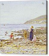 On The Beach Acrylic Print by Helen Allingham