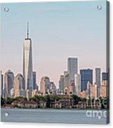 One World Trade Center And Ellis Island 2 Acrylic Print by Susan Candelario