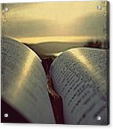 Open Bible Acrylic Print by Anne Macdonald