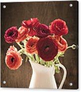 Orange And Red Ranunculus Flowers Acrylic Print by Jan Bickerton