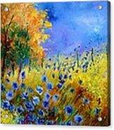 Orange Tree And Blue Cornflowers Acrylic Print by Pol Ledent