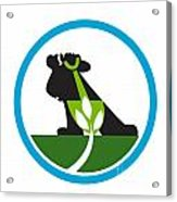 Organic Farmer Shovel Plant Circle Acrylic Print by Aloysius Patrimonio