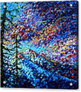 Original Abstract Impressionist Landscape Contemporary Art By Madart Mountain Glory Acrylic Print by Megan Duncanson