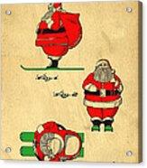 Original Patent For Santa On Skis Figure Acrylic Print by Edward Fielding