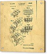 Original Us Patent For Lego Acrylic Print by Edward Fielding
