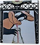 Orioles Mascot Drinks Coca Cola Acrylic Print by Susan Candelario