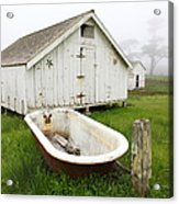 Outdoor Bath At The Old Pierce Point Ranch In Foggy Point Reyes California 5d28136 Acrylic Print by Wingsdomain Art and Photography