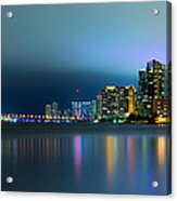 Overcast Miami Night Skyline Acrylic Print by Andres Leon