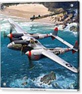 P-38 Lightning Battle Axe Acrylic Print by Mark Karvon