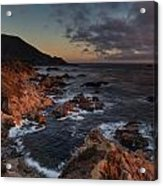 Pacific Coast Golden Light Acrylic Print by Mike Reid