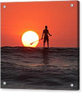 Paddle Board Sunset Acrylic Print by Nathan Miller