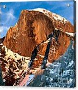 Painting Half Dome Yosemite N P Acrylic Print by Bob and Nadine Johnston