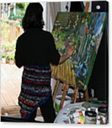 Painting My Backyard 1 Acrylic Print by Becky Kim