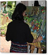 Painting My Backyard 2 Acrylic Print by Becky Kim