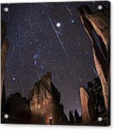 Painting The Needles Under The Geminids Meteor Shower Acrylic Print by Mike Berenson