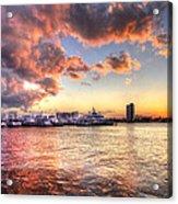 Palm Beach Harbor With West Palm Beach Skyline Acrylic Print by Debra and Dave Vanderlaan