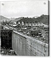 Panama Canal Construction 1910 Acrylic Print by Photo Researchers