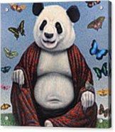 Panda Buddha Acrylic Print by James W Johnson