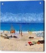 Panoramic Painting Of Porto Katsiki Beach Acrylic Print by George Atsametakis