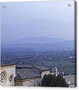 Panoramic View Of Assisi At Night Acrylic Print by Susan  Schmitz