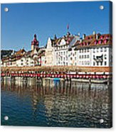 Panoramic View Of Historic Lucerne Acrylic Print by George Oze