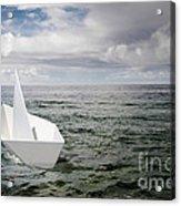 Paper Boat Acrylic Print by Carlos Caetano