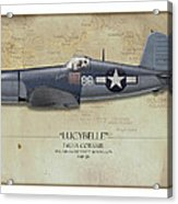 Pappy Boyington F4u Corsair - Map Background Acrylic Print by Craig Tinder