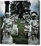 Parade Of Angels Statues At Cemetery Acrylic Print by Amy Cicconi