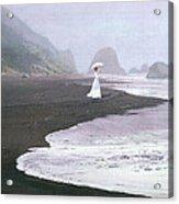 Parasol Beach Acrylic Print by Robert Foster