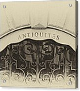 Paris Antique Store Sign Acrylic Print by Tony Grider