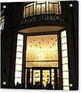Paris Louis Vuitton Boutique Store Front - Paris Night Photo Louis Vuitton - Champs Elysees  Acrylic Print by Kathy Fornal