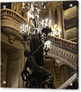 Paris Opera House Grand Staircase And Chandeliers - Paris Opera Garnier Statues And Architecture  Acrylic Print by Kathy Fornal