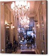 Paris Pink Hotel Lobby Interiors Pink Posh Hotel Interior Arch And Chandelier Hallway Acrylic Print by Kathy Fornal