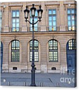 Paris Place Vendome Street Architecture Blue Doors And Street Lamps  Acrylic Print by Kathy Fornal