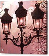 Paris Street Lanterns - Paris Romantic Dreamy Surreal Pink Paris Street Lamps  Acrylic Print by Kathy Fornal