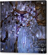 Paris Surreal Haunting Crystal Chandelier Mirrored Reflection - Dreamy Blue Crystal Chandelier  Acrylic Print by Kathy Fornal