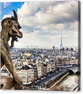 Parisian Gargoyle Admires The Skyline Acrylic Print by Mark E Tisdale