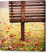 Park Bench In Autumn Acrylic Print by Edward Fielding