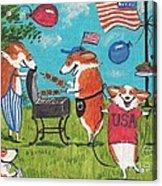Patriotic Pups Acrylic Print by Margaryta Yermolayeva