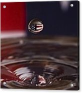 Patriotic Water Drop Acrylic Print by Anthony Sacco