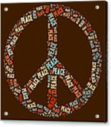 Peace Symbol Retro - 0103b  Acrylic Print by Variance Collections
