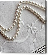 Pearls And Old Linen Acrylic Print by Barbara Griffin