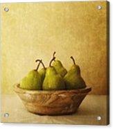 Pears In A Wooden Bowl Acrylic Print by Priska Wettstein