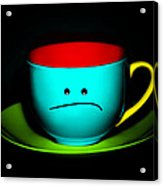 Peeved Colorful Cup And Saucer Acrylic Print by Natalie Kinnear