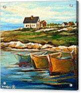 Peggys Cove With Fishing Boats Acrylic Print by Carole Spandau